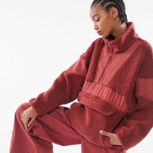 Adidas Sherpa half zip pullover jacket red